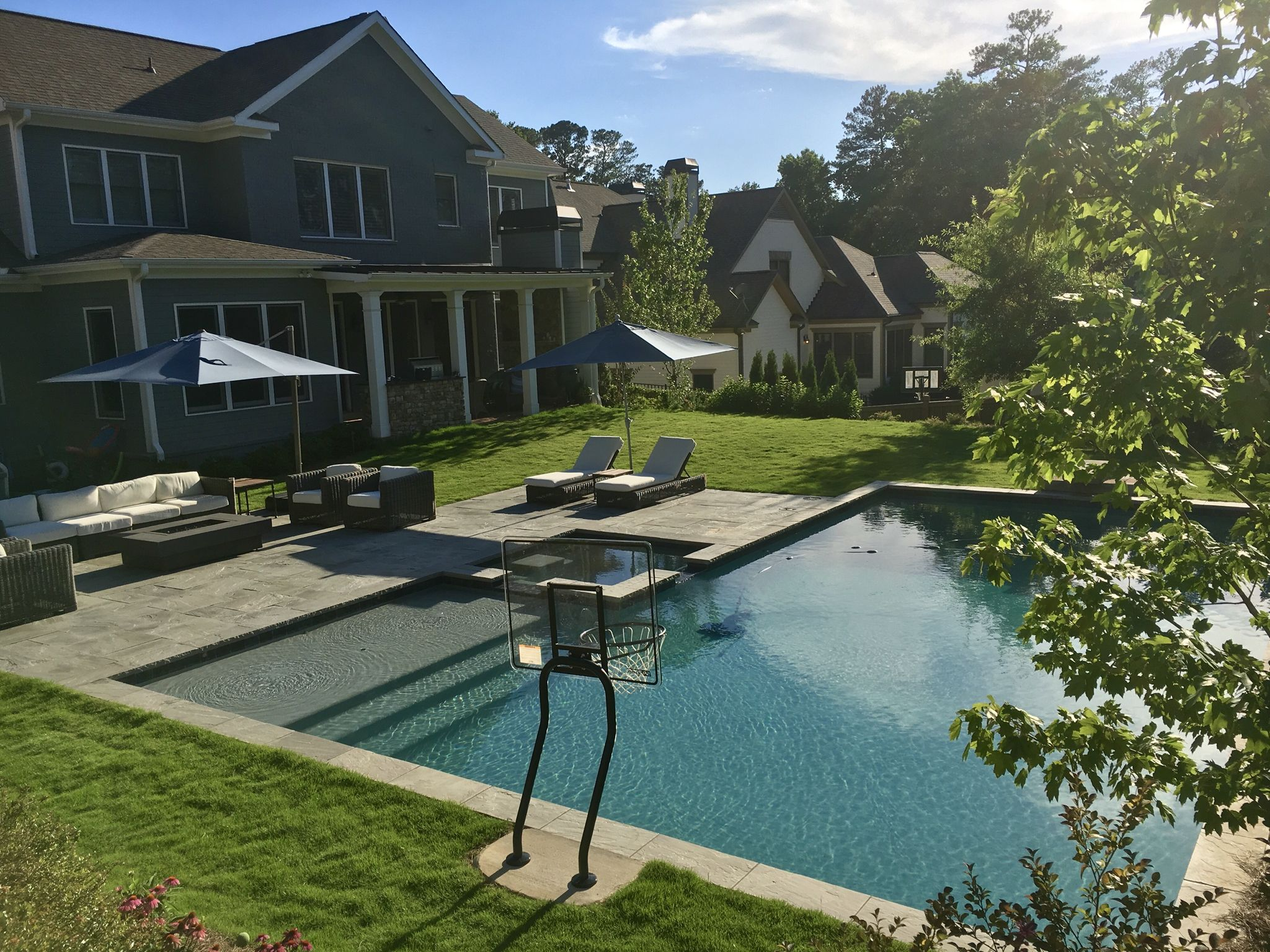 L Shaped Pool Pools Backyard Inground Backyard Pool Landscaping Pool Landscaping