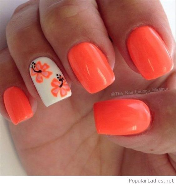 Orange And White Nail Art With Flowers