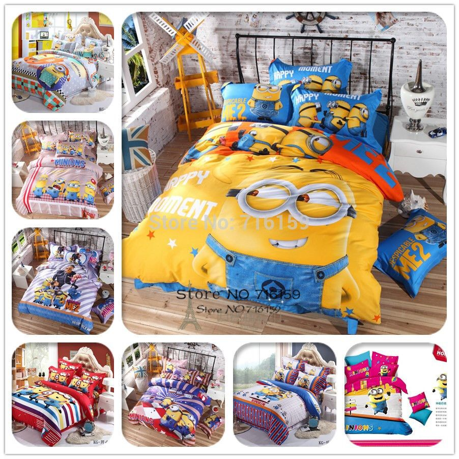 Copripiumino Minions.100 Cotton Bedding Set Cartoon Printing Minions Bedclothes Baby