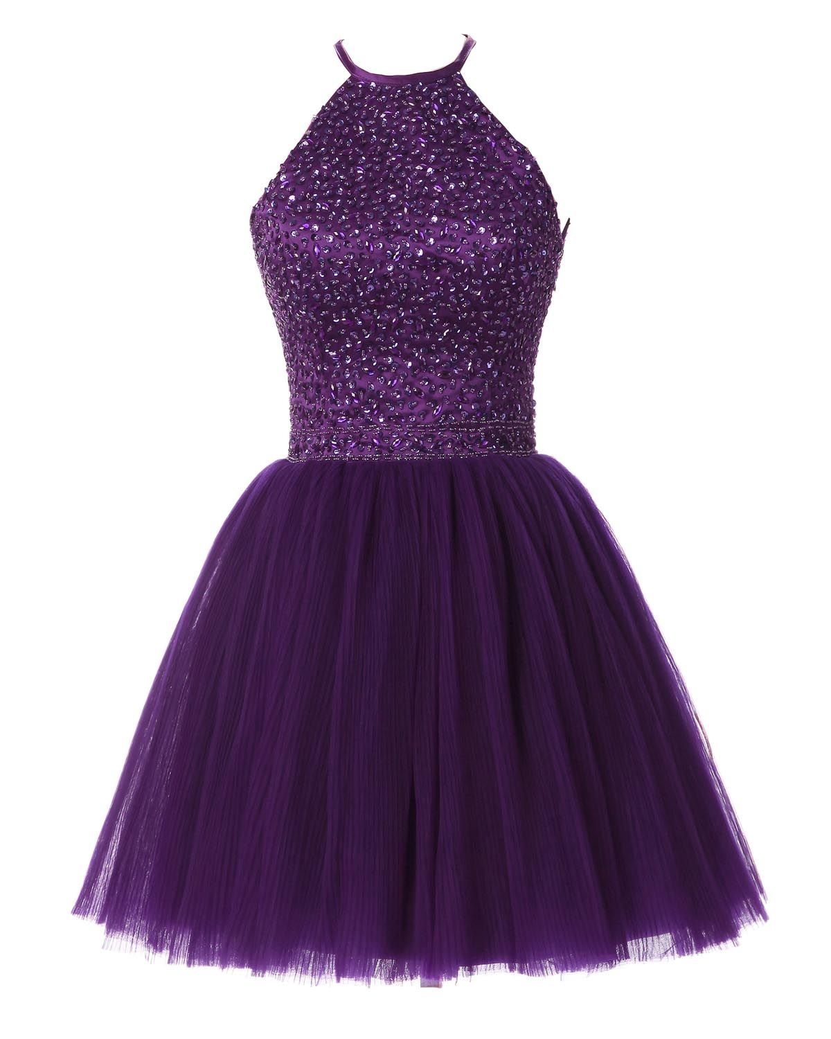 short prom dress, tulle prom dress, purple homecoming | Vestidos ...