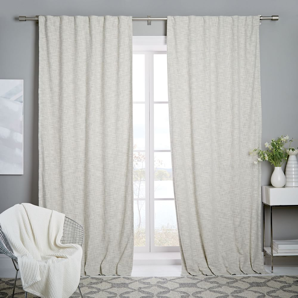 Cotton Textured Weave Curtain Blackout Lining Ivory Living