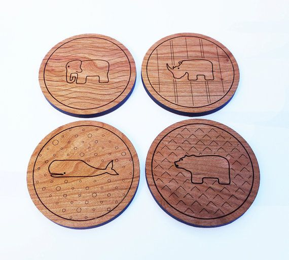 Any 4 animal coasters  wooden cherry coasters by thejunglehook