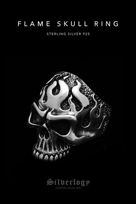 Flame skull ring sterling silver 925 in 2019 | Stuff to ...