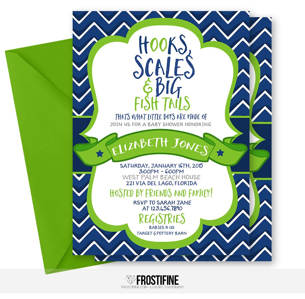 Hooks, scales and big fish tales, fishing baby shower invitation for ...