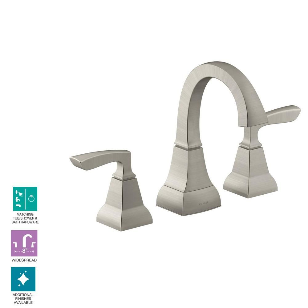 Kohler Kallan 8 In Widespread 2 Handle Bathroom Faucet In Vibrant Brushed Nickel K R24056 4d Bn With Images Bathroom Faucets Bathroom Faucets Brushed Nickel Bathroom Faucets Waterfall