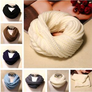 NEW SOLID COLOR WOMEN FASHION WINTER WARM NECK KNIT CABLE INFINITY COWL SCARF
