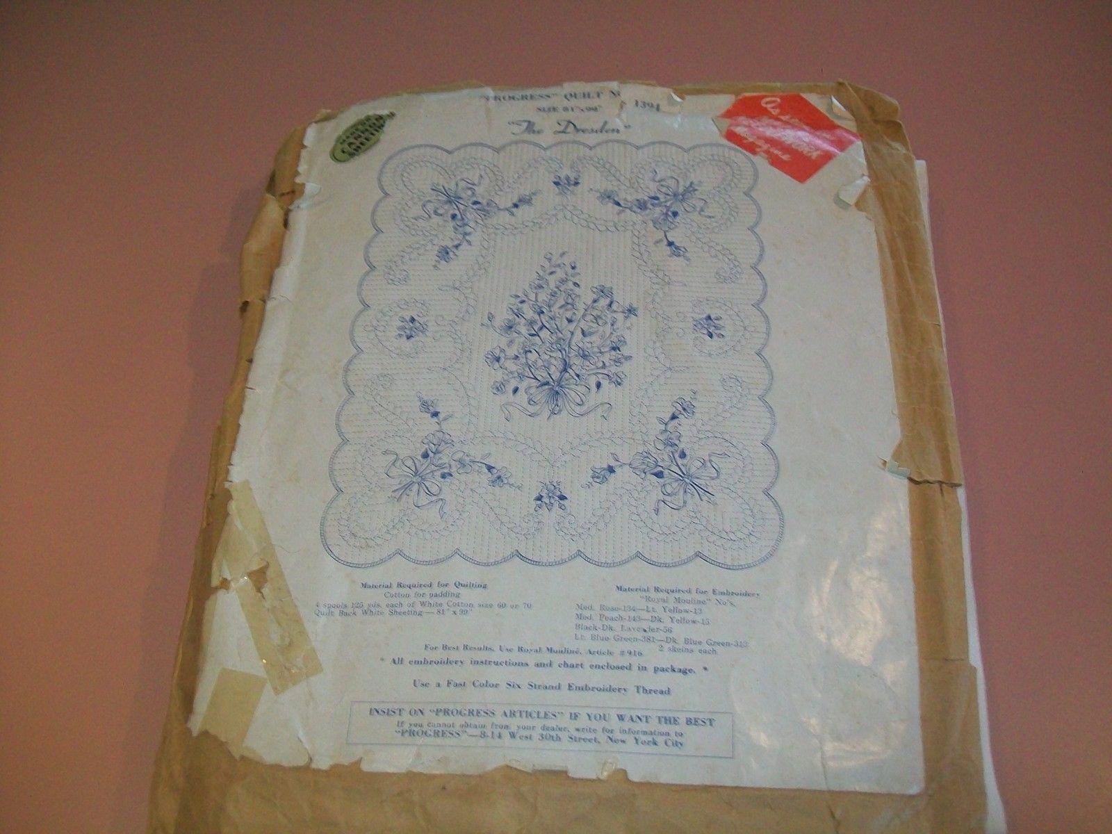 Details about vintage progress applique quilt top kit the