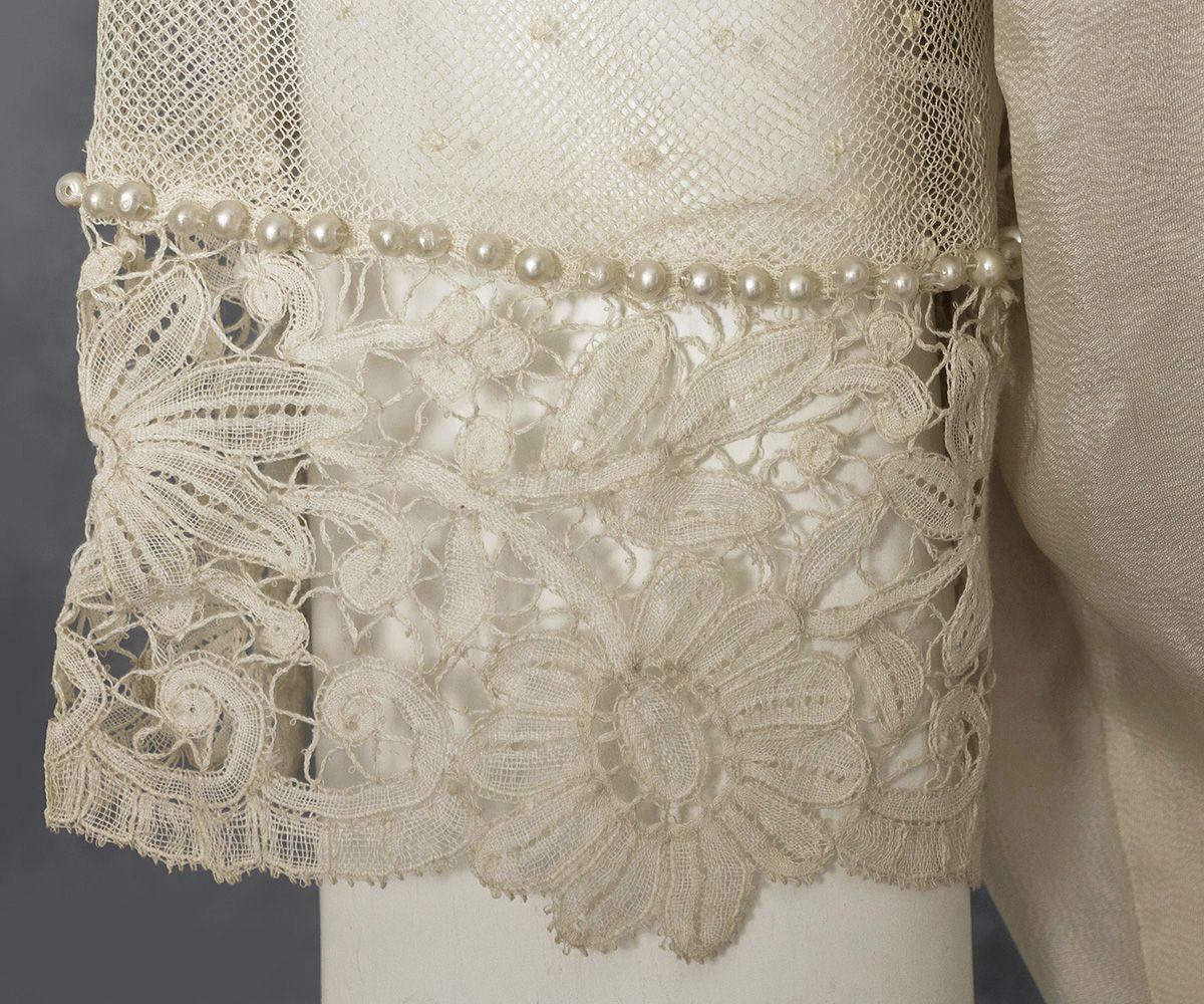 Edwardian wedding dress mixed laceembroidered silk dress c