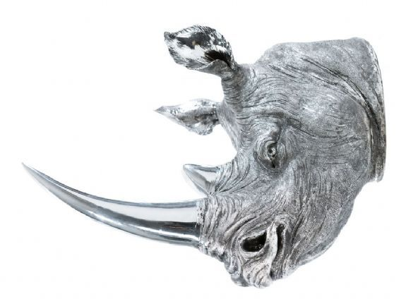 Wall Mounted Rhino Head Metal Look Hanging Silver Decor Trophy Sculpture