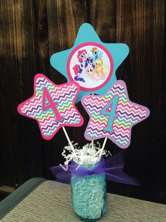 My Little Pony Centerpiece My Lil Pony Birthday Decorations on
