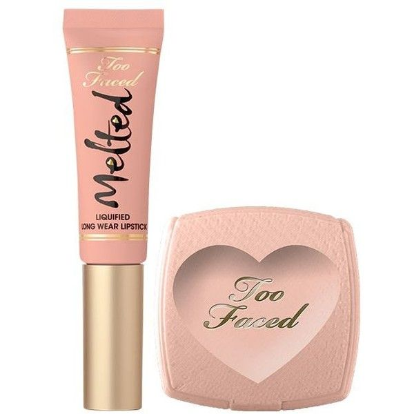 Too Faced Long Lasting Nude Lipstick Christmas gift set (€17) ❤ liked on Polyvore featuring beauty products, makeup, lip makeup, lipstick, too faced cosmetics, nude lipstick, long wearing lipstick and long wear lipstick