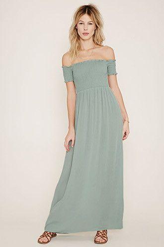 edd5177fda826 FOREVER21 Women's Sage Strapless Smocked #Maxi Dress #festival #boho