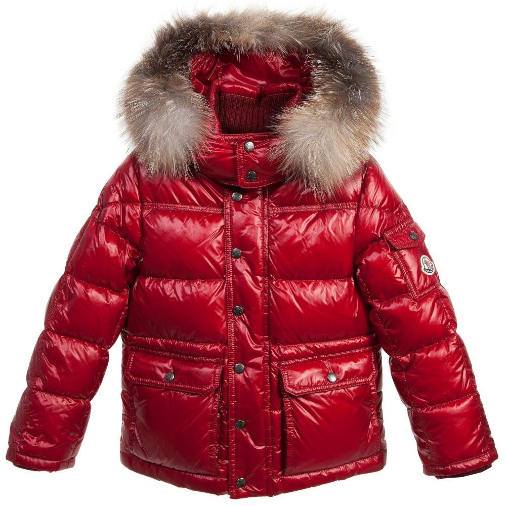 Red Down Padded 'Hubert' Jacket with Fur Trim, Moncler | #JACKETS ...