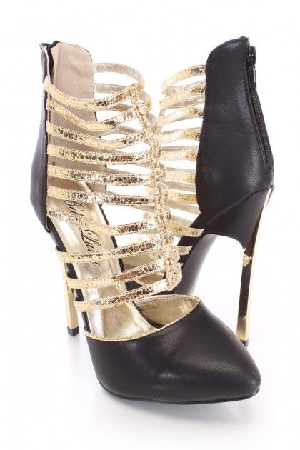 Black Metallic Strappy Booties Faux Leather