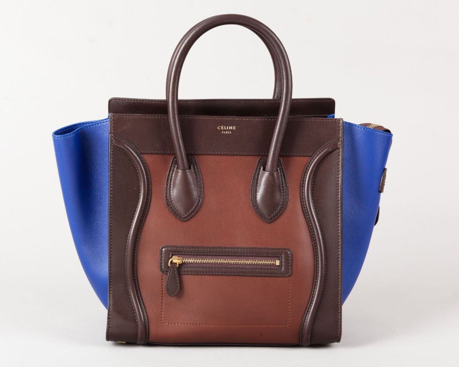 celine sac luggage 31cm en cuir tricolore bleu roi. Black Bedroom Furniture Sets. Home Design Ideas