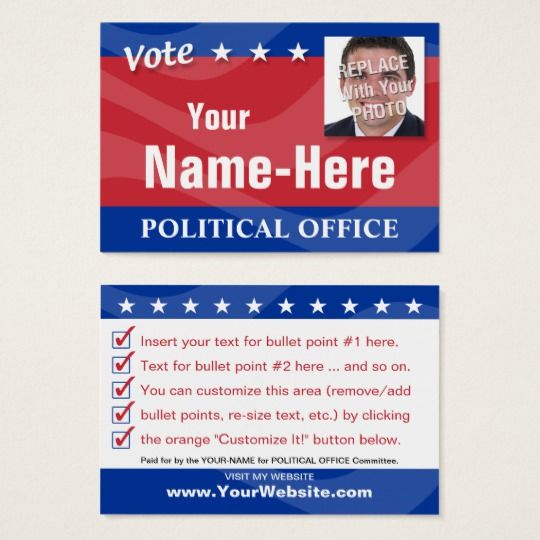 Vote  Political Campaign Business Card  Political Campaign