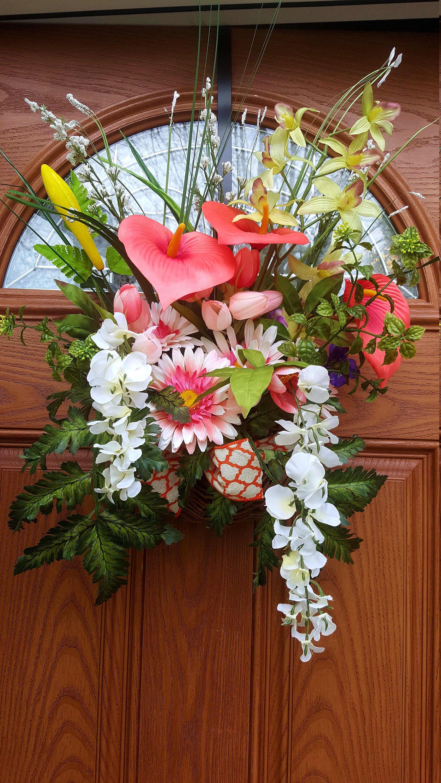 Hanging Basket Wreath,Basket Door Hanger,Spring/Summer Door Hanger,Door Basket Wreath,Basket Wreath,Floral Basket Wreath,Front Door Basket by LeilasCreationsArt on Etsy