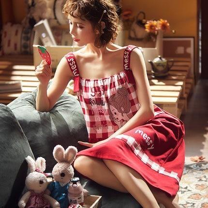 new suspender nightdress womens summer thin pure cotton home clothes sexy little girl nightdress sweet princess wind dress summ