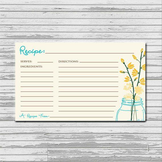 Mason Jar Recipe Card - 3x5 printable download - flowers rustic