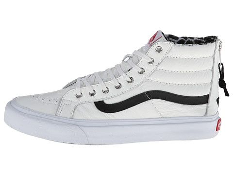 8d99da6664ce61 Vans SK8-Hi Slim Zip (Leather) in True White Snow Leopard
