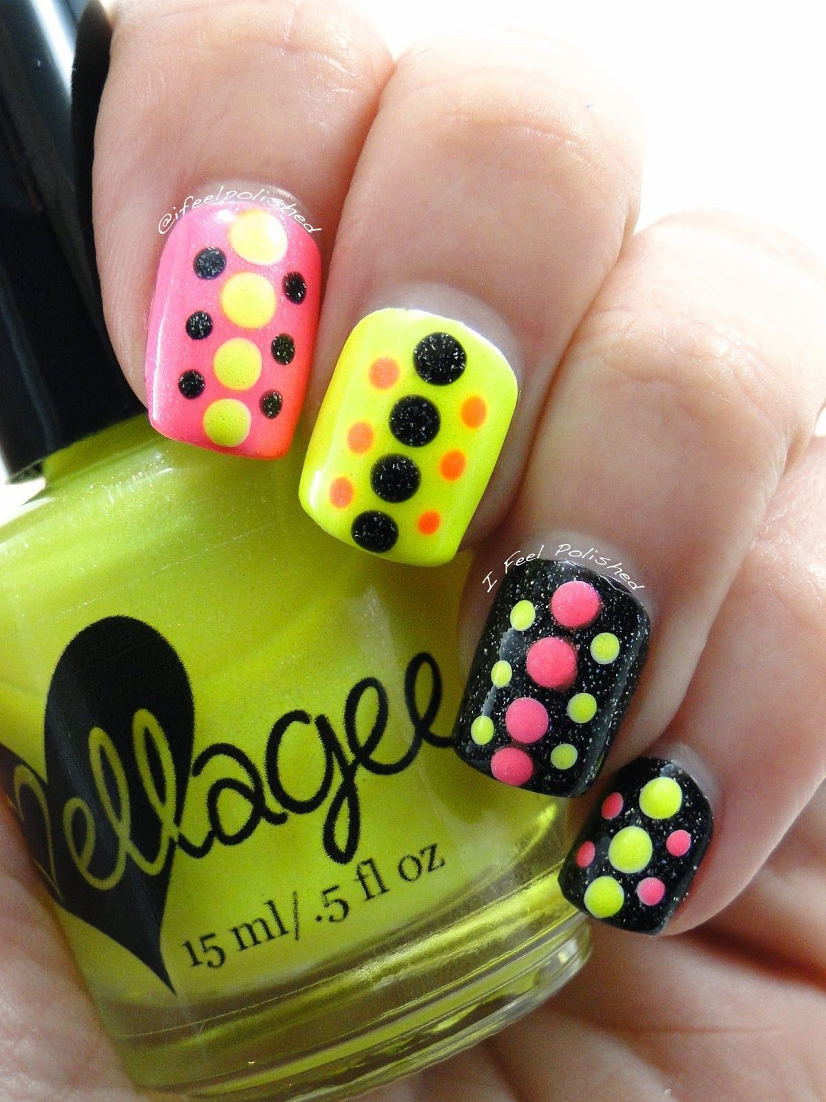 Neon Dottiecure By Ifeelpolished Neon Nails Nails