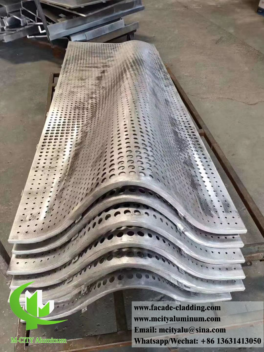 Curved Perforated Metal Cladding Metal Facades Round Holes In 2020 Metal Cladding Aluminium Cladding Perforated Metal