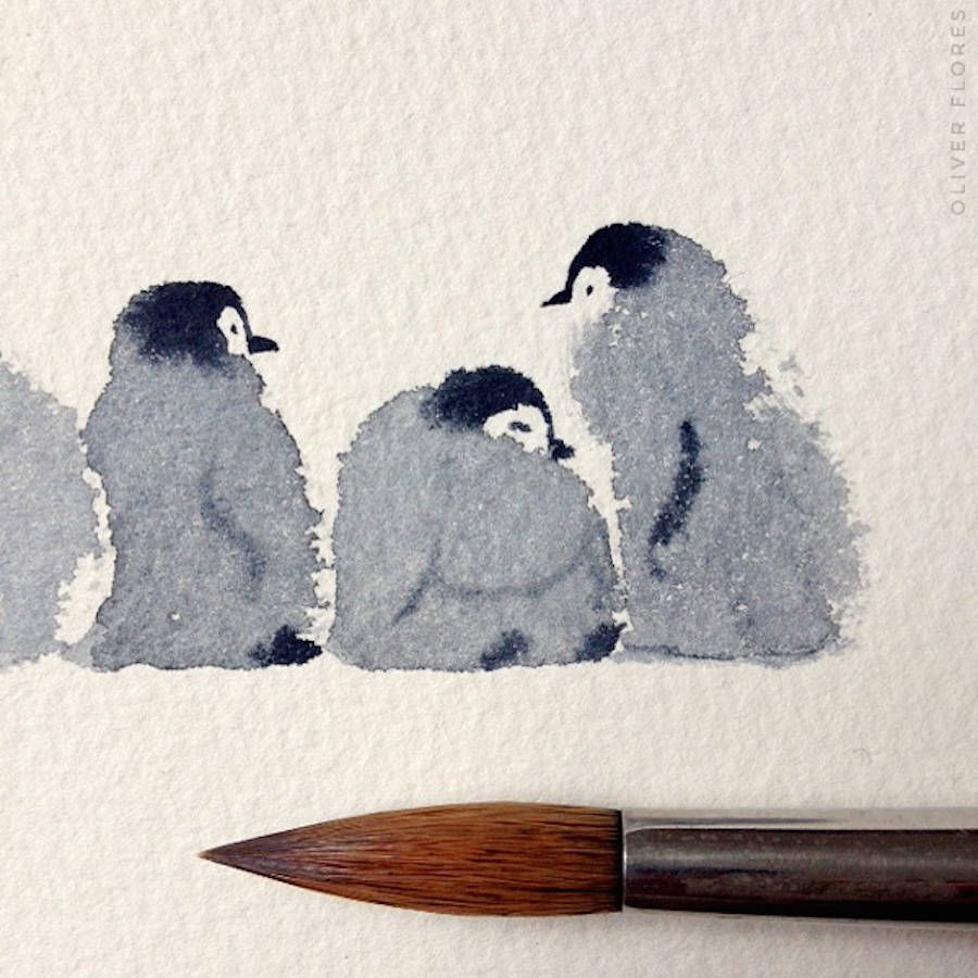 Cute Penguins Watercolor Art De La Couleur Mouton Dessin Et
