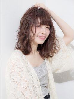 大人かわいいショコラピンクデジタルパーマミディアボブ8 髪型