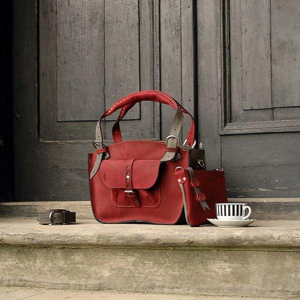 Umhängetaschen - Lederhandtasche handgemacht Kuferek KLEINER - ein Designerstück…