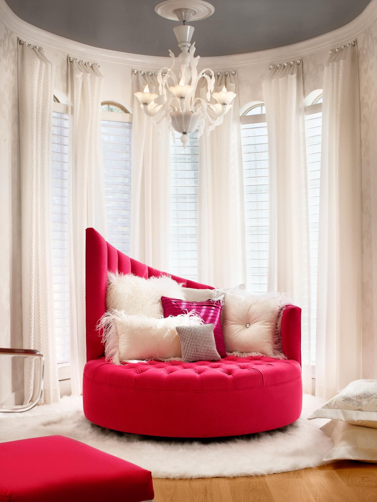 White Modern Glam Sitting Area With Hot Pink Chair  Contemporary