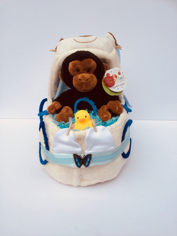Boys Nappy Cake, Nappy Cake, Baby Shower Gift, Blue Nappy