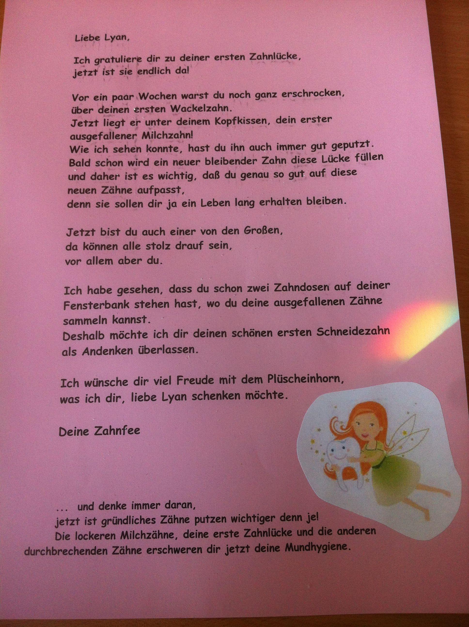 Brief Von Der Zahnfee Zahnfee Brief Zahnfee Zahnfee Geschenke