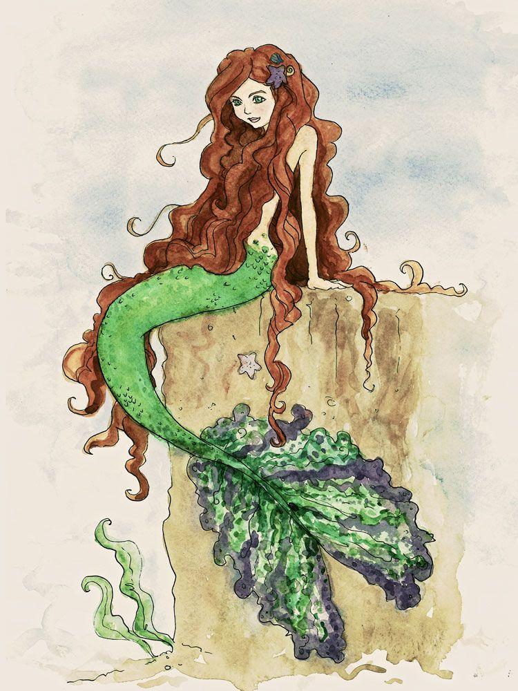 mermaid watercolor | Mermaids | Pinterest