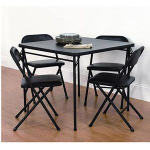 Mainstays 5 Piece Card Table And Chair Set Black Card Table And