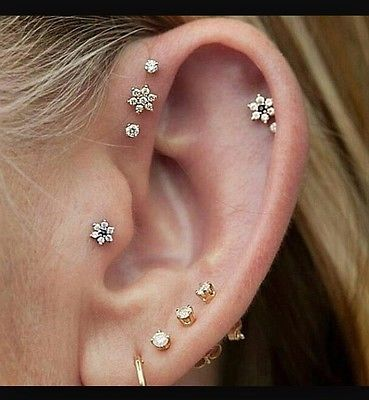 a05b468c2 Gold-plated-Tragus-Helix-Nose-Flower-Stud-with-Rainbow-crystals -Screw-Back-New