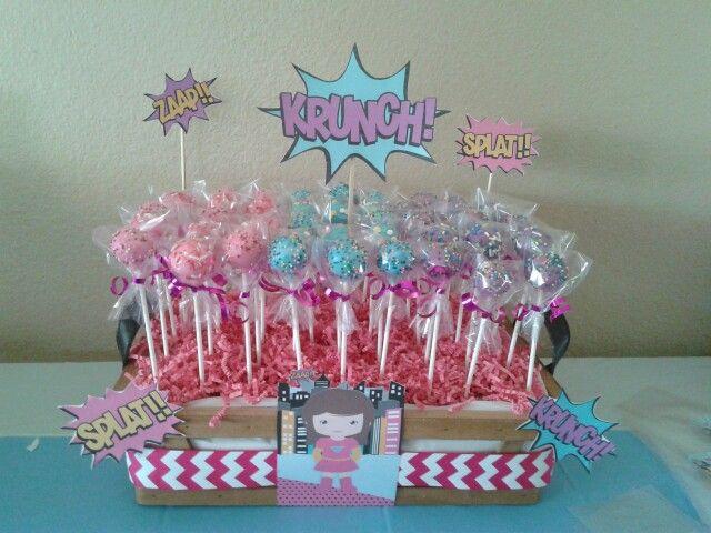 Girl superhero cake pops