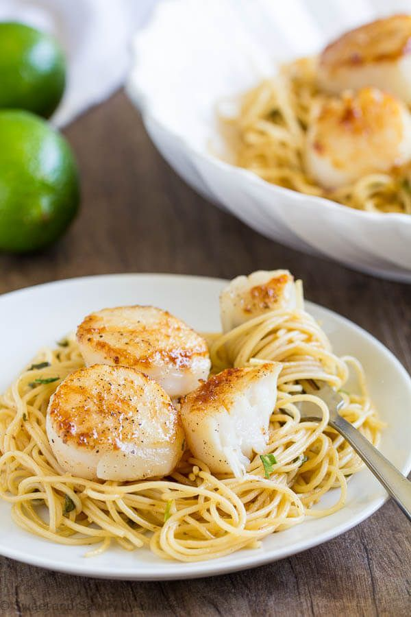 Tequila Lime Seared Scallops Pasta Recipe Amazing Appetizers Scallop Pasta Baked