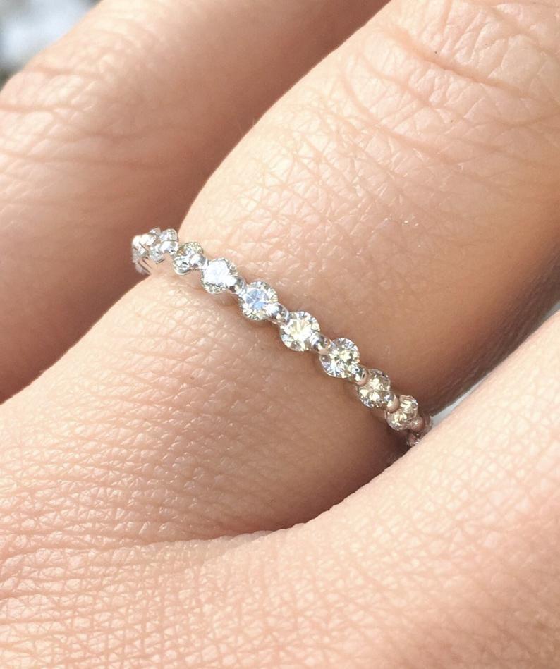 Diamond Bubble Ring Floating Diamond Dot Band 2mm Half Etsy Diamond Bubble Ring Diamond Wedding Bands Eternity Band Diamond