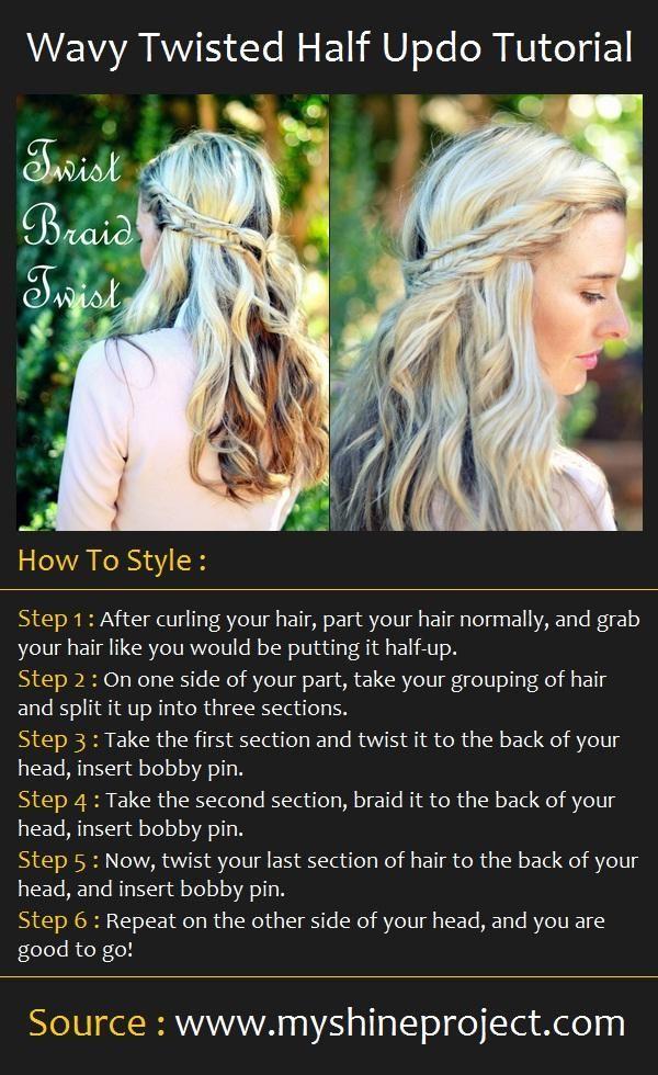Wavy Twisted Half Updo Tutorial Hair Tutorials Hair Hair Styles