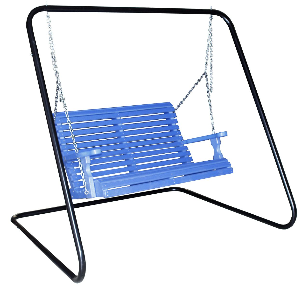Powder Coated Metal Swing Frame 4 Rollback Porch Pictured In Blue