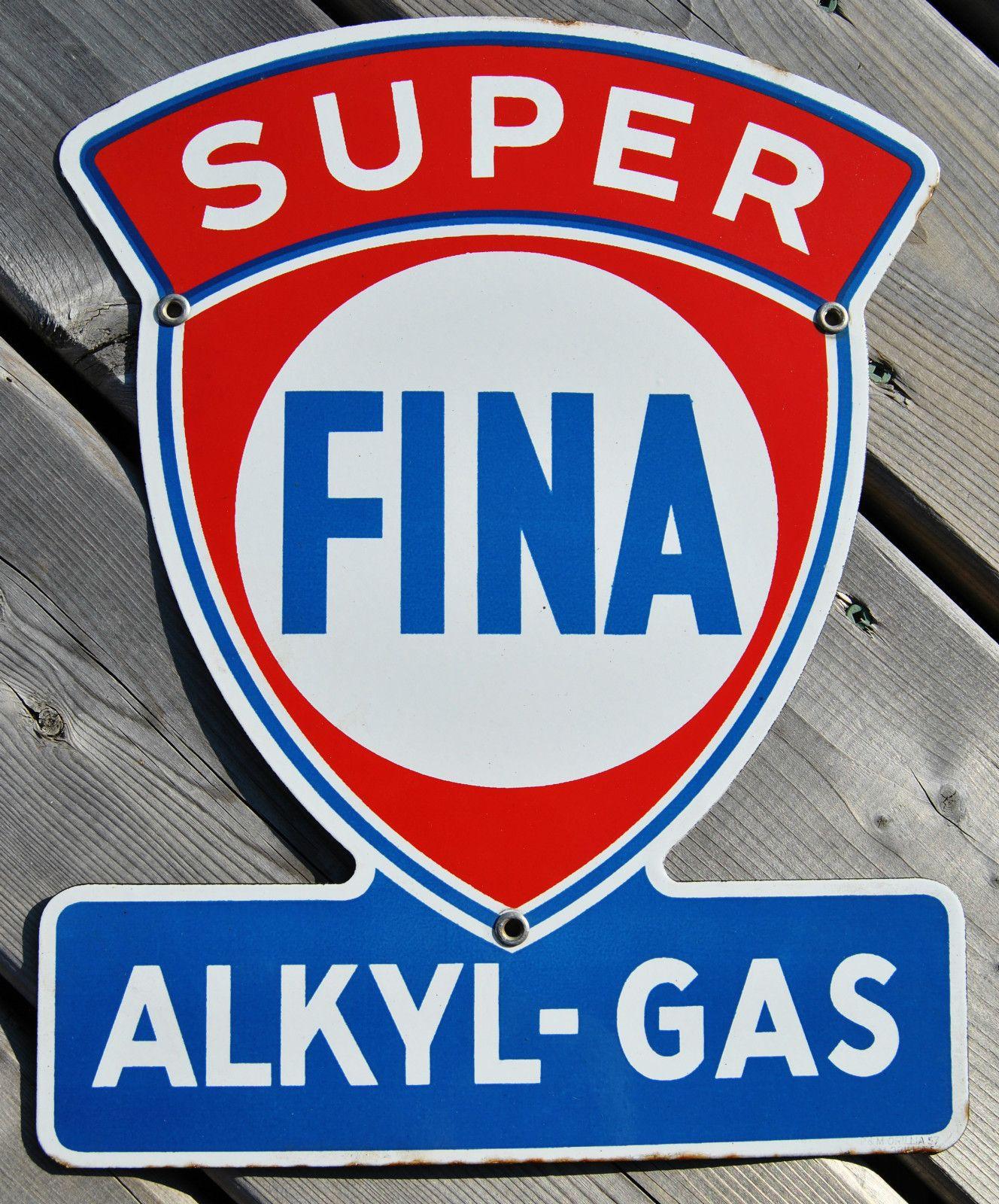 antique super fina akyl gas porcelain sign vintage 1957 gas oil advertising sign old signs. Black Bedroom Furniture Sets. Home Design Ideas