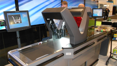The National Retail Federation's 102nd Annual Convention & Expo, held Jan. 13-16:  At its NRF booth, Datalogic displayed its next-generation scanning system that moves products through scanning at least three times as fast as a conventional system.