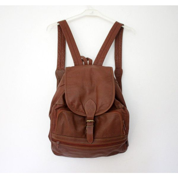 e97b645a8f14 Bag  leather backpack vintage hipster brown hipsters leather leather... via  Polyvore featuring bags