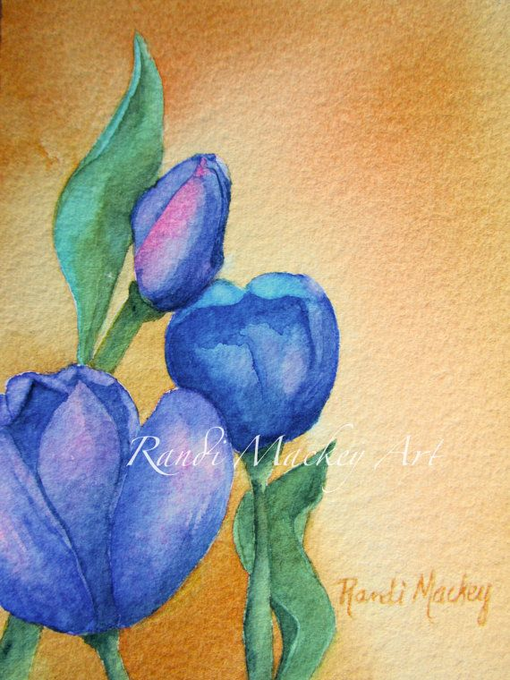 Original Watercolor by me, RandiMackeyArt - Irish Tulips positioned left - look for Irish Tulips positioned right to complement this painting.
