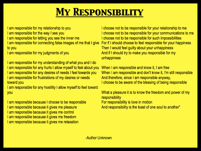 My personal responsibility poem leadership affirmations