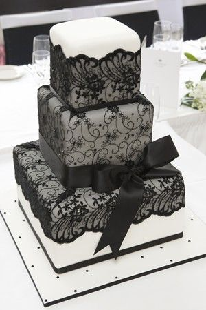 gorgeous black lace wedding cake
