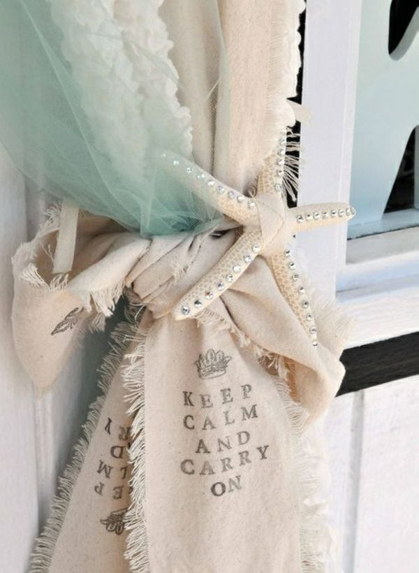 deko ideen, gardinenhalter aus meerstern schlafzimmer - deko ideen gardinen wohnzimmer