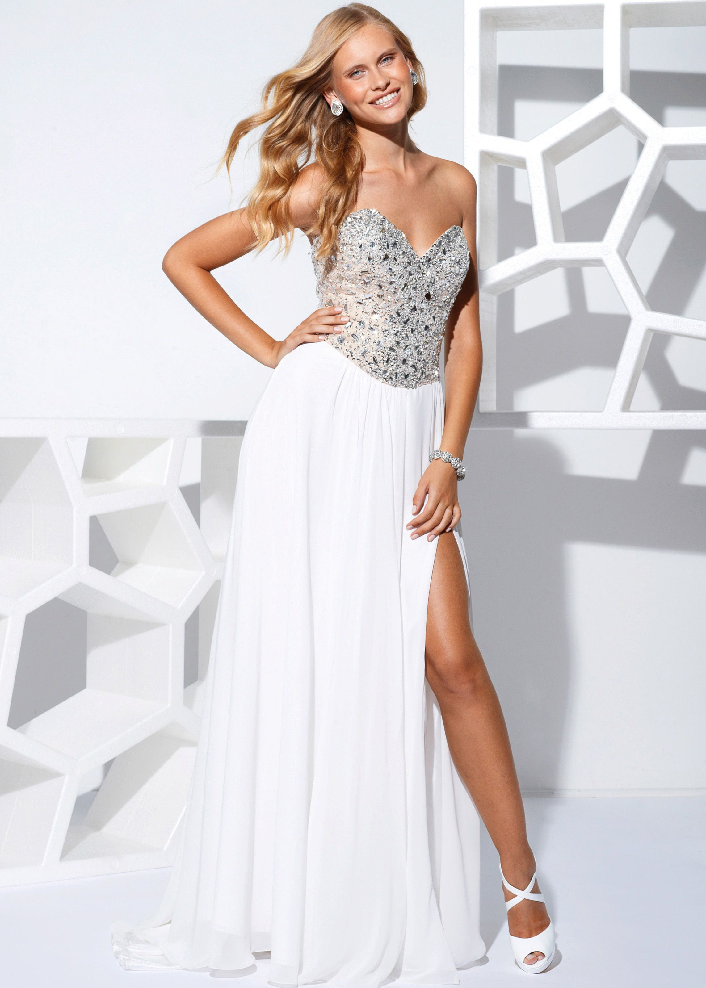 Buy now Terani Couture P1529 white long flowing prom dresses available now at RissyRoos.com.