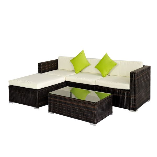 Broyerk 5 Piece Rattan Outdoor Patio Furniture Set Overstock Shopping Big Discounts On Sofas Chairs Sectionals Modesto Home Corner Sofa Outdoor Rattan Outdoor Furniture Outdoor Garden Furniture