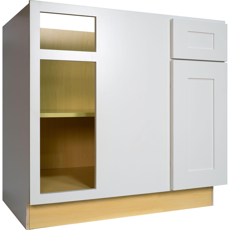Everyday Cabinets 42-inch White Shaker Blind Corner Base Kitchen ...